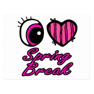 Emo Eye Heart I Love Spring Break Post Cards