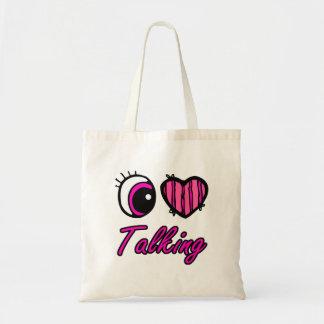 Emo Eye Heart I Love Talking Budget Tote Bag