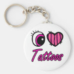 Emo Eye Heart I Love Tattoos Basic Round Button Keychain