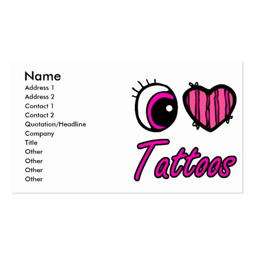 Emo Eye Heart I Love Tattoos Business Cards