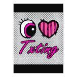Emo Eye Heart I Love Txting Invitation