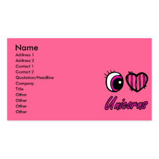 Emo Eye Heart I Love Unicorns Business Card