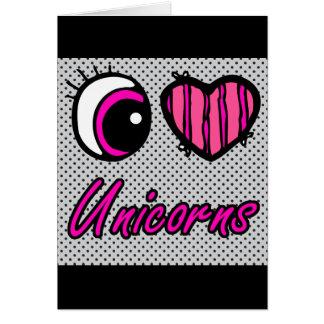 Emo Eye Heart I Love Unicorns Card
