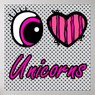 Emo Eye Heart I Love Unicorns Poster