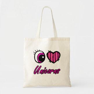 Emo Eye Heart I Love Unicorns Tote Bag
