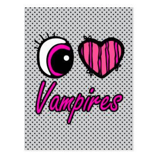 Emo Eye Heart I Love Vampires Postcard