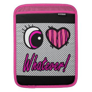 Emo Eye Heart I Love Whatever iPad Sleeve