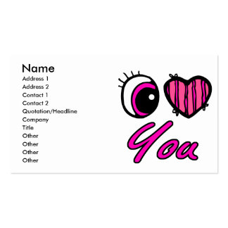 Emo Eye Heart I Love you Business Cards