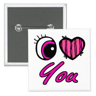 Emo Eye Heart I Love you Pinback Button