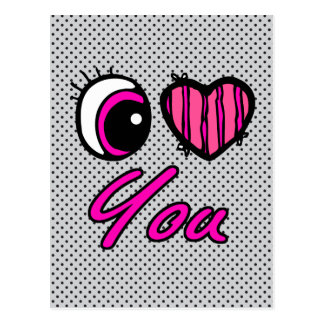 Emo Eye Heart I Love you Postcard