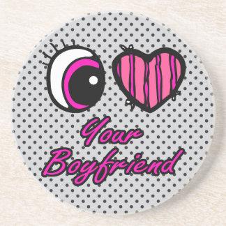 Emo Eye Heart I Love Your Boyfriend Beverage Coasters