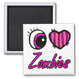 Emo Eye Heart I Love Zombies Magnet
