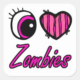 Emo Eye Heart I Love Zombies Square Sticker