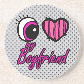 Emo Eye Heart I my Boyfriend Drink Coaster