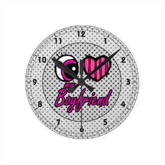 Emo Eye Heart I my Boyfriend Round Clock