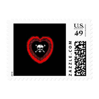 emo haert with scull stamps