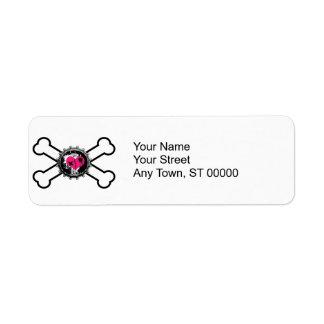 emo heart bottlecap crossbones design label