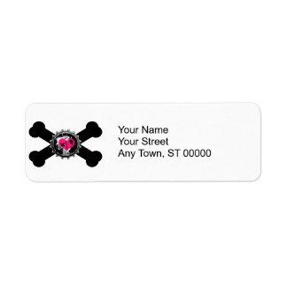 emo heart bottlecap pink crossbones design label