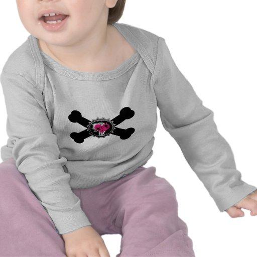 emo heart bottlecap pink crossbones design tee shirt