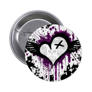 emo heart pinback button