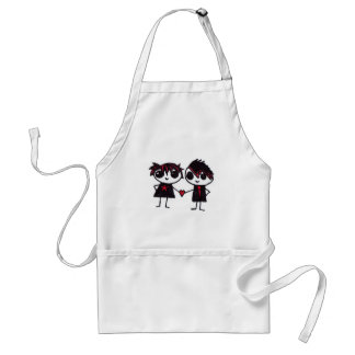 Emo in love adult apron