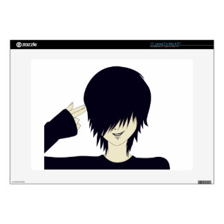 Emo kid with finger gun laptop decals