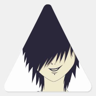 Emo kid with finger gun triangle sticker