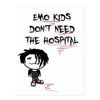 emo kids don't need the hospital postcard