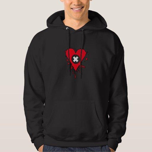 Emo Love Heart Paint Splatter Hoodie