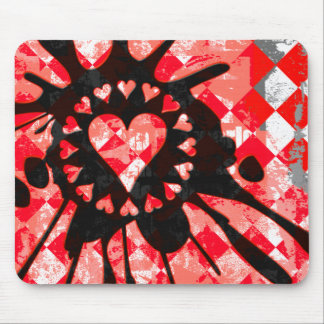 Emo Love Heart Paint Splatter Mouse Pad