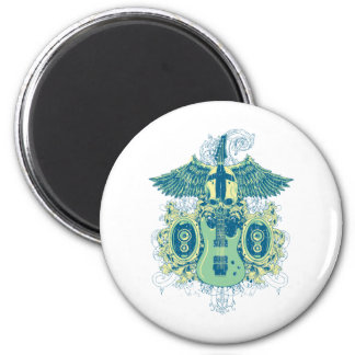 Emo Music Skull with Electric Guitar 2 Inch Round Magnet