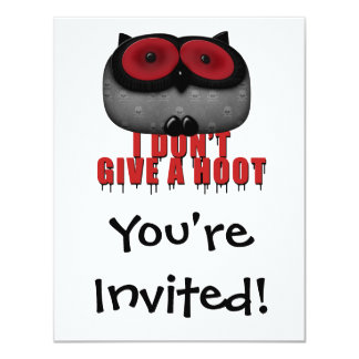 emo owl dont give a hoot 4.25x5.5 paper invitation card