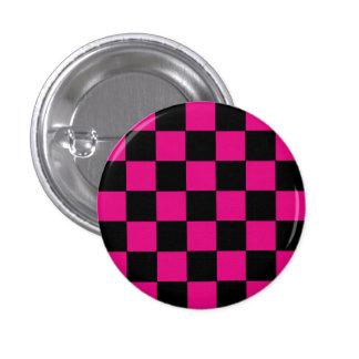 Emo Pink & Black Checkerboard 1 Inch Round Button