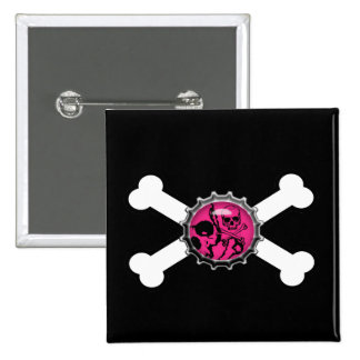 emo pink skull bottlecap crossbones 2 inch square button