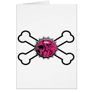 emo pink skull bottlecap crossbones card