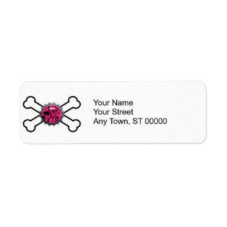 emo pink skull bottlecap crossbones label