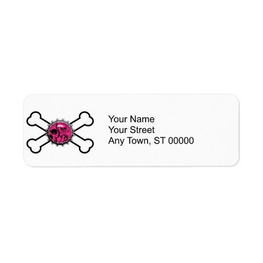 emo pink skull bottlecap crossbones label
