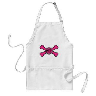 emo pink skull bottlecap pink crossbones adult apron