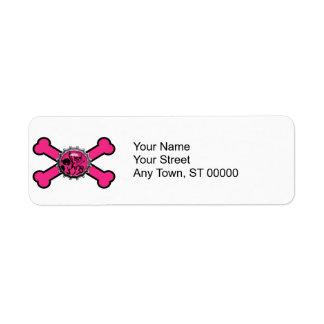 emo pink skull bottlecap pink crossbones label