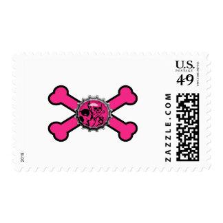 emo pink skull bottlecap pink crossbones stamps