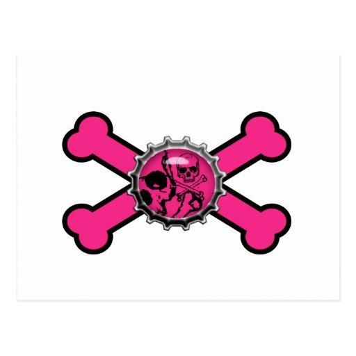 emo pink skull bottlecap pink crossbones postcard