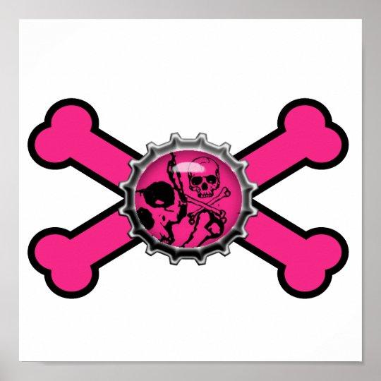 emo pink skull bottlecap pink crossbones poster