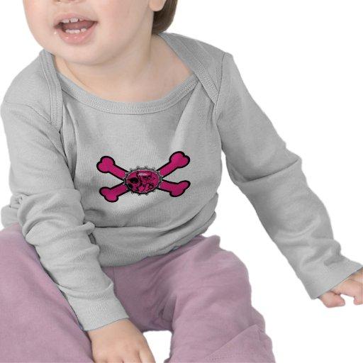 emo pink skull bottlecap pink crossbones t shirts