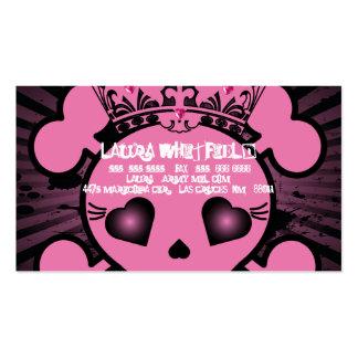 EMO Pink Skull Crossbones Girly Business Card