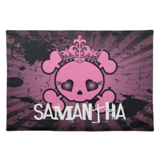 EMO Pink Skull Crossbones Girly Pirate Placemat Cloth Placemat
