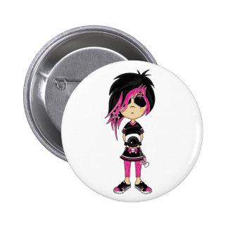 Emo Punk Girl Badge Button