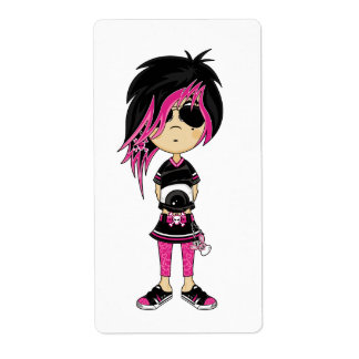 Emo Punk Girl Sticker Label