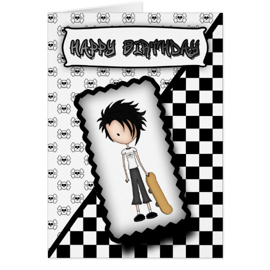 Emo Skateboard Boy Birthday Card in Black White – Boy Birthday Cards