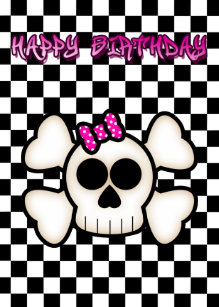Emo girl birthday cards greeting photo cards zazzle emo skull girls birthday card black white pink bookmarktalkfo Images
