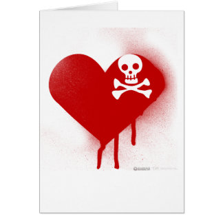 Emo Skull Heart Anti Valentines Day - Rock Grunge Card